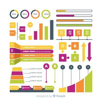 Flaches design der bunten infographic elemente