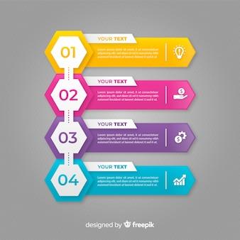 Flaches design der bunten infographic schritte