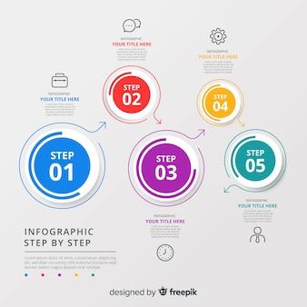 Flaches design der bunten infographic schrittschablone