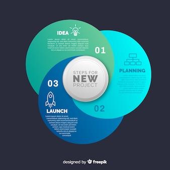 Flaches design der bunten infographic steigung