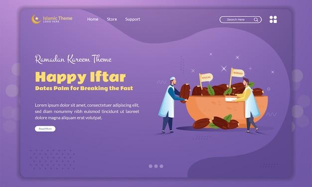 Flaches design der dattelpalme zum brechen des fasten für ramadan-konzept auf landingpage
