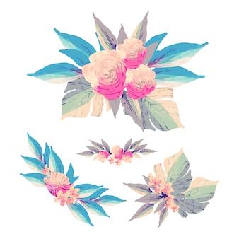 Flaches design der dekorativen blumensammlung