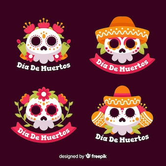 Flaches design der dia de muertos label kollektion