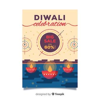 Flaches design der diwali verkaufsfliegerschablone