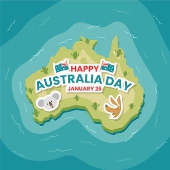 Flaches design der draufsicht von australien-land