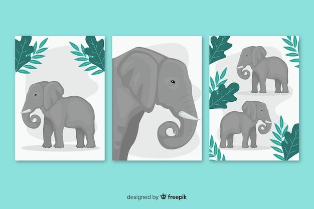 Flaches design der elefantenkartensammlung