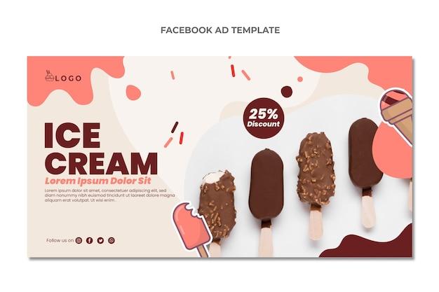 Flaches design der facebook-werbung für lebensmittel