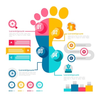 Flaches design der footprint-infografiken