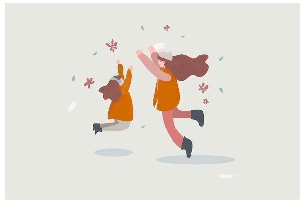 Flaches design der fröhlichen charaktere. mutter und kind springen.
