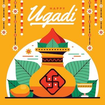 Flaches design der glücklichen ugadi feier