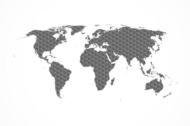 Flaches design der grauen sechseck-weltkarte-vektorillustration