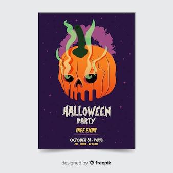 Flaches design der gruseligen halloween-kürbis-parteiplakatschablone