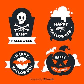 Flaches design der halloween-aufklebersammlung