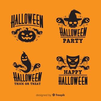 Flaches design der halloween-ausweissammlung