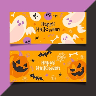 Flaches design der halloween-banner