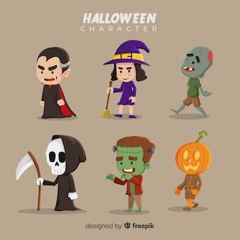 Flaches design der halloween-charaktersammlung