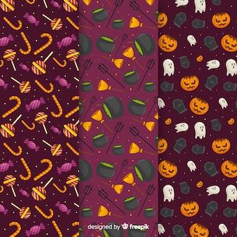 Flaches design der halloween-elementmustersammlung