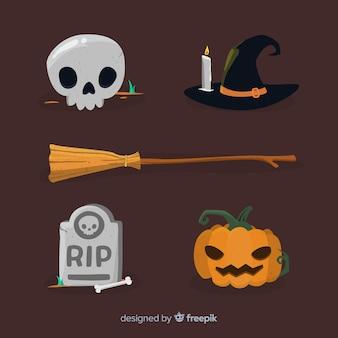 Flaches design der halloween-elementsammlung