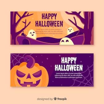 Flaches design der halloween-fahnenschablone