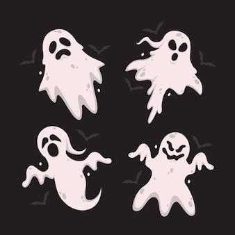 Flaches design der halloween-geistersammlung