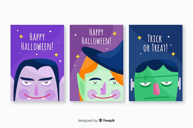 Flaches design der halloween-kartensammlung