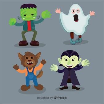Flaches design der halloween-kindersammlung