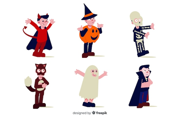 Flaches design der halloween-kindersammlung