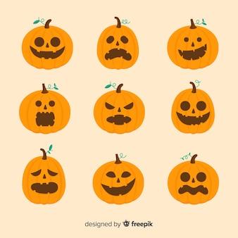 Flaches design der halloween-kürbissammlung