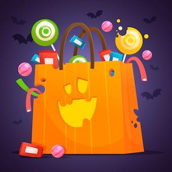 Flaches design der halloween-kürbistasche