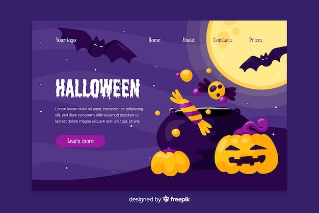 Flaches design der halloween-landungsseite