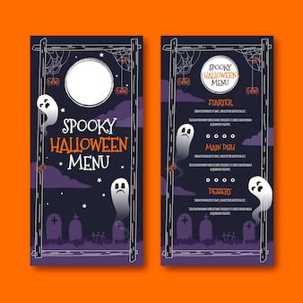 Flaches design der halloween-menüvorlage
