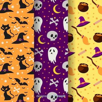 Flaches design der halloween-mustersammlung