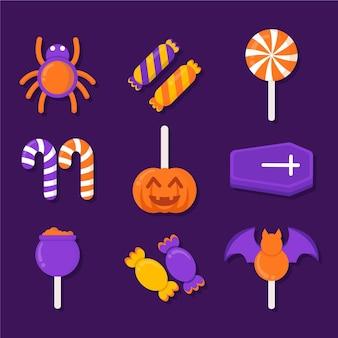 Flaches design der halloween-süßigkeitensammlung