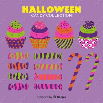 Flaches design der halloween-süßigkeitssammlung