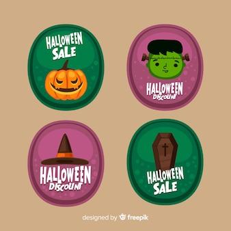 Flaches design der halloween-verkaufsaufklebersammlung
