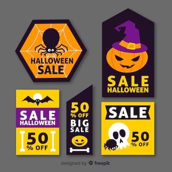 Flaches design der halloween-verkaufsausweissammlung