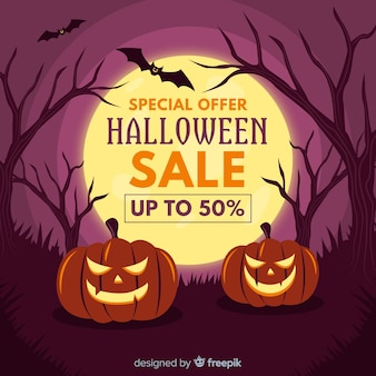 Flaches design der halloween-verkaufsfahne