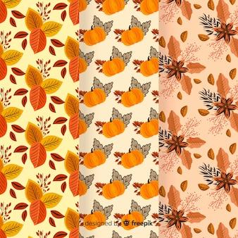 Flaches design der herbstmustersammlung