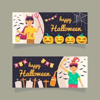 Flaches design der horizontalen banner der halloween