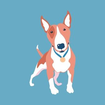 Flaches design der hundefuchs-bullterrier-ikone