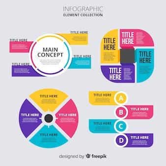 Flaches design der infographic-elementsammlung