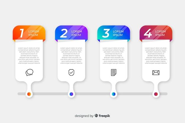 Flaches design der infographic-schrittsammlung