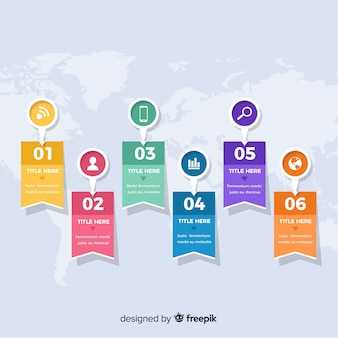 Flaches design der infographic-schrittschablone