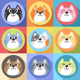 Flaches design der katzengesichtsikonen-karikatursatzillustration
