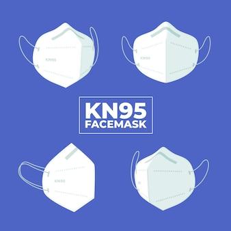 Flaches design der kn95 gesichtsmaske in verschiedenen perspektiven Kostenlosen Vektoren