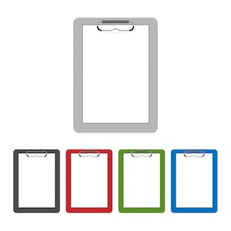 Flaches design der leeren klemmbrett- oder checklistenikone lokalisiert auf transparentem