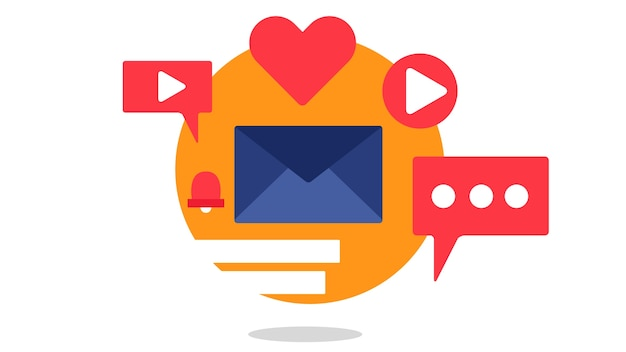 Flaches design der mailboxgeschäfts-ikone
