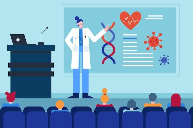 Flaches design der medizinischen konferenz