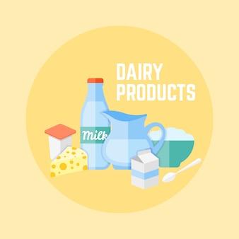 Flaches design der milchprodukte