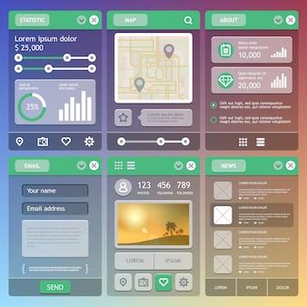 Flaches design der mobilen benutzeroberfläche